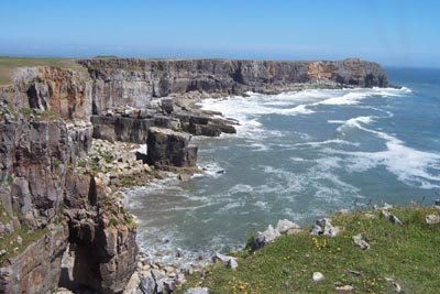The rugged Pembrokeshire coast where st Govans Chapel is situated, photo L Asman