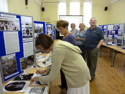 Some of our committee putting the last finishes to the exhibition