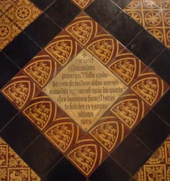 Plaque marking the burial of Edward Prince of Wales, Tewkesbury Abbey