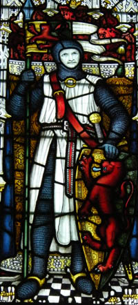 William Marshall in the T Kempe stained glass window St Marys Church Pembroke
