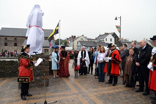 The unveiling ceremony, Henry VII statue, Pembroke
