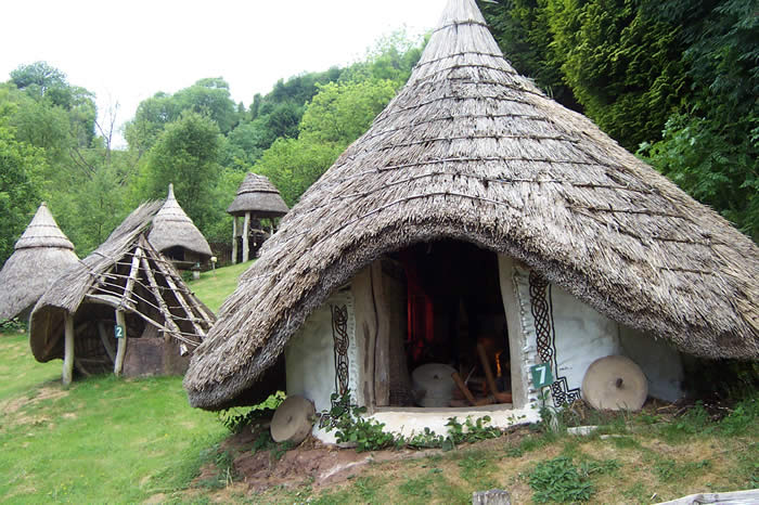 An example of a round house reconstructed at Dan Yr Ogof